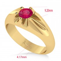 Men's Solitaire Ruby Ring 14k Yellow Gold (0.50ct)