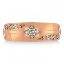 Diamond Gents Ring/Wedding Band For Men 14k Rose Gold (0.30ct)