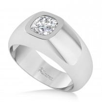 Men's Diamond Gypsy Ring 14k White Gold (1.00ct)