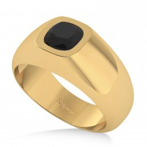 Men's Diamond & Black Diamond Gypsy Ring 14k Yellow Gold (1.00ct)