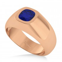 Men's Diamond & Blue Sapphire Gypsy Ring 14k Rose Gold (1.00ct)