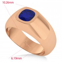 Men's Blue Sapphire Gypsy Ring 14k Rose Gold (1.00ct)