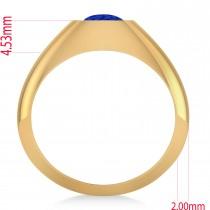 Men's Blue Sapphire Gypsy Ring 14k Yellow Gold (1.00ct)