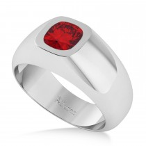 Men's Diamond & Ruby Gypsy Ring 14k White Gold (1.00ct)