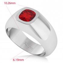 Men's Ruby Gypsy Ring 14k White Gold (1.00ct)