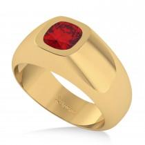 Men's Diamond & Ruby Gypsy Ring 14k Yellow Gold (1.00ct)