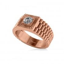 Two Tone Cut Diamond Men's Fashion Ring 14k Rose Gold (0.50 ct)