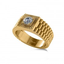 Two Tone Cut Diamond Men's Fashion Ring 14k Yellow Gold (0.50 ct)