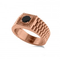 Two Tone Cut Black Diamond Men's Fashion Ring 14k Rose Gold (0.50 ct)