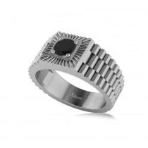 Two Tone Cut Black Diamond Men's Fashion Ring 14k White Gold (0.50 ct)