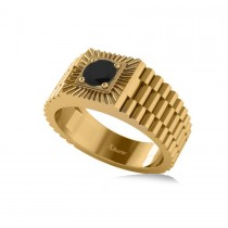 Two Tone Cut Black Diamond Men's Fashion Ring 14k Yellow Gold (0.50 ct)