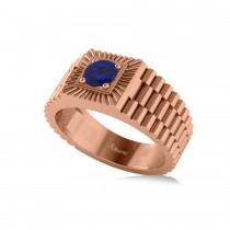 Two Tone Cut Blue Sapphire Men's Fashion Ring 14k Rose Gold (0.50 ct)