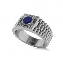 Two Tone Cut Blue Sapphire Men's Fashion Ring 14k White Gold (0.50 ct)