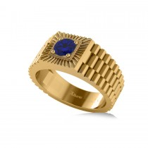 Two Tone Cut Blue Sapphire Men's Fashion Ring 14k Yellow Gold (0.50 ct)
