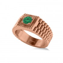 Two Tone Cut Emerald Men's Fashion Ring 14k Rose Gold (0.50 ct)