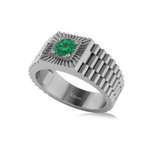 Two Tone Cut Emerald Men's Fashion Ring 14k White Gold (0.50 ct)