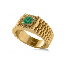 Two Tone Cut Emerald Men's Fashion Ring 14k Yellow Gold (0.50 ct)