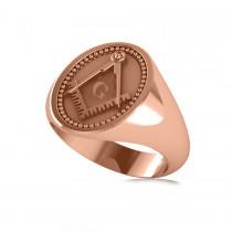 Masonic Novelty Mens Fashion Ring 14k Rose Gold