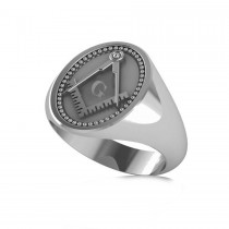 Masonic Novelty Mens Fashion Ring 14k White Gold