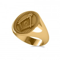 Masonic Novelty Mens Fashion Ring 14k Yellow Gold