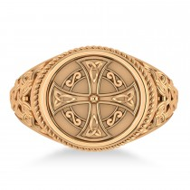 Men's Celtic Cross Signet Ring 14k Rose Gold