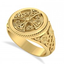 Men's Celtic Cross Signet Ring 14k Yellow Gold