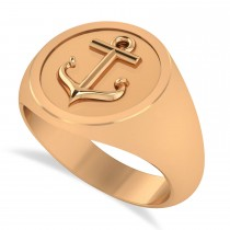 Men's Anchor Signet Ring 14k Rose Gold