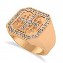 Men's Diamond Accent Jerusalem Cross Signet Ring 14k Rose Gold (0.49 ctw)