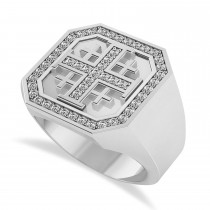 Men's Diamond Accent Jerusalem Cross Signet Ring 14k White Gold (0.49 ctw)