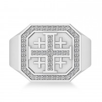 Men's Diamond Accent Jerusalem Cross Signet Ring 14k White Gold (0.49 ctw)