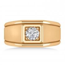 Men's Round Diamond Solitaire Ring 14k Rose Gold (0.75 ctw)