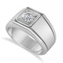Men's Round Diamond Solitaire Ring 14k White Gold (0.75 ctw)