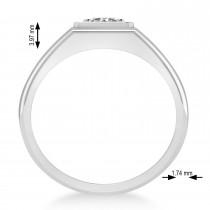 Men's Round Diamond Solitaire Ring 14k White Gold (0.75 ctw)