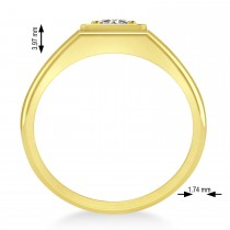 Men's Round Diamond Solitaire Ring 14k Yellow Gold (0.75 ctw)