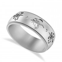 Fleur De Lis Men's Ring/Wedding Band 14k White Gold