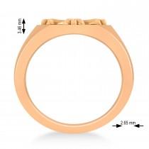 Men's Antique Style Cross Signet Ring 14k Rose Gold