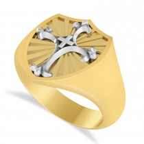 Men's Antique Style Cross Signet Ring 14k Two-Tone Gold