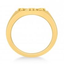 Men's Antique Style Cross Signet Ring 14k Yellow Gold