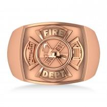 Fire Department Badge Ring 14k Rose Gold