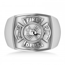 Fire Department Badge Ring 14k White Gold