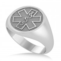 Emergency Medical Technician EMT Symbol Signet Ring 14k White Gold