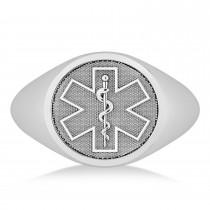 Emergency Medical Technician EMT Symbol Signet Ring 14k White Gold