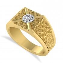 Men's Textured Diamond Fashion Ring 14k Yellow Gold (0.50 ctw)