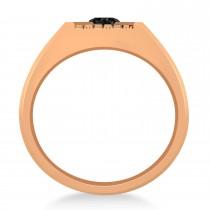 Men's Textured Black Diamond Fashion Ring 14k Rose Gold (0.50 ctw)