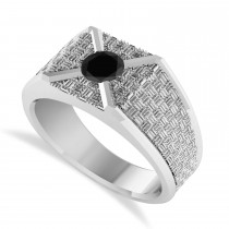 Men's Textured Black Diamond Fashion Ring 14k White Gold (0.50 ctw)