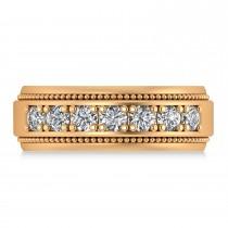 Men's Seven-Stone Diamond Milgrain Ring 14k Rose Gold (1.05 ctw)
