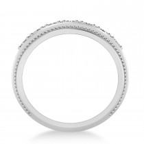 Men's Seven-Stone Diamond Milgrain Ring in 14k White Gold (1.05 ctw)