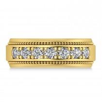 Men's Seven-Stone Diamond Milgrain Ring 14k Yellow Gold (1.05 ctw)