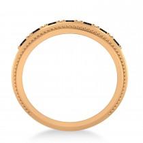 Men's Seven-Stone Black Diamond Milgrain Ring 14k Rose Gold (1.05 ctw)