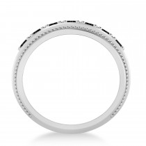 Men's Seven-Stone Black Diamond Milgrain Ring in 14k White Gold (1.05 ctw)